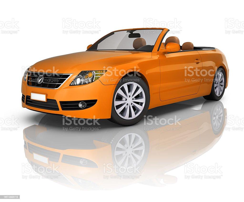 Orange Convertible Car royalty-free stock photo