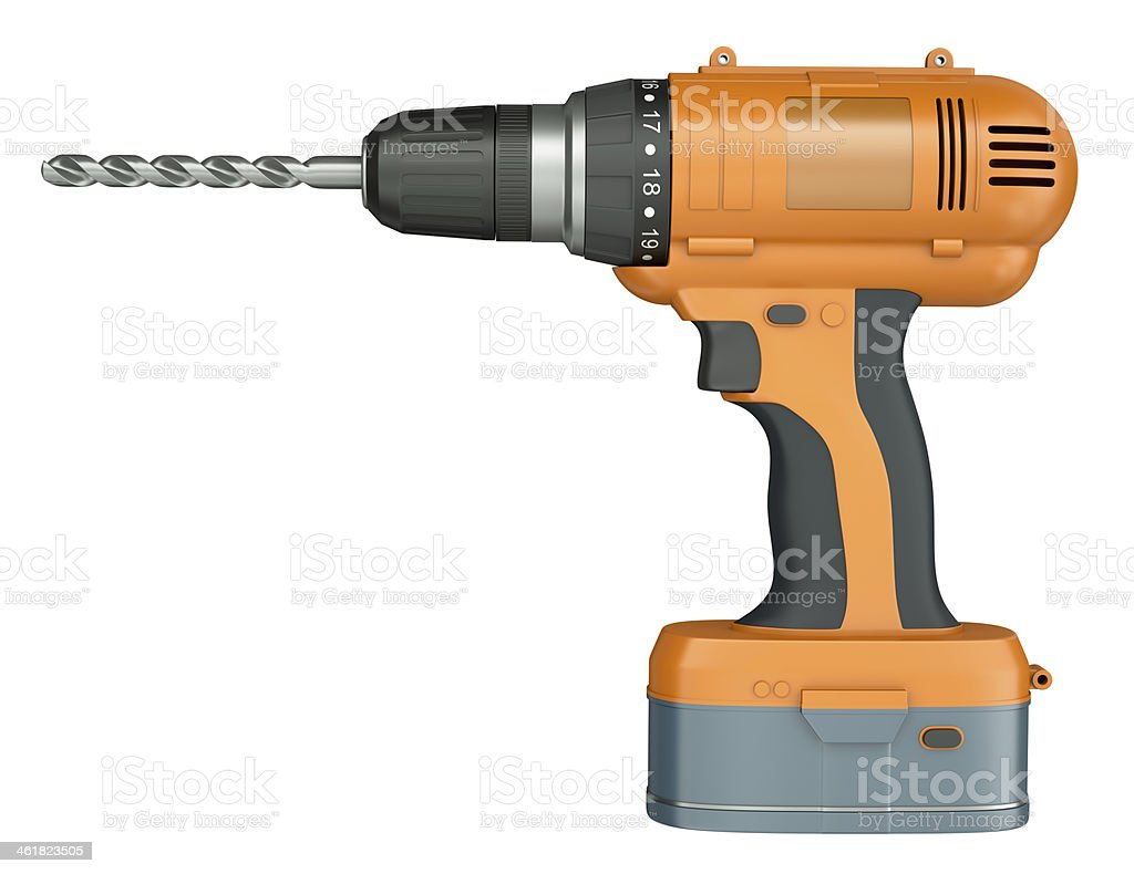 Orange cordless drill on a white background stock photo