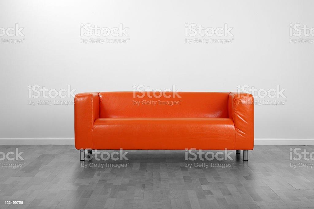 Orange Couch stock photo