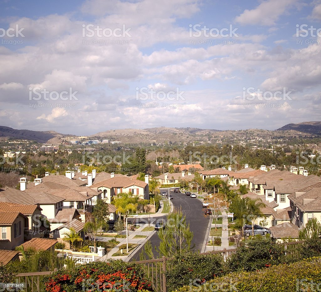 Orange County Southern California Housing Tract Suburbs, Residential Houses royalty-free stock photo