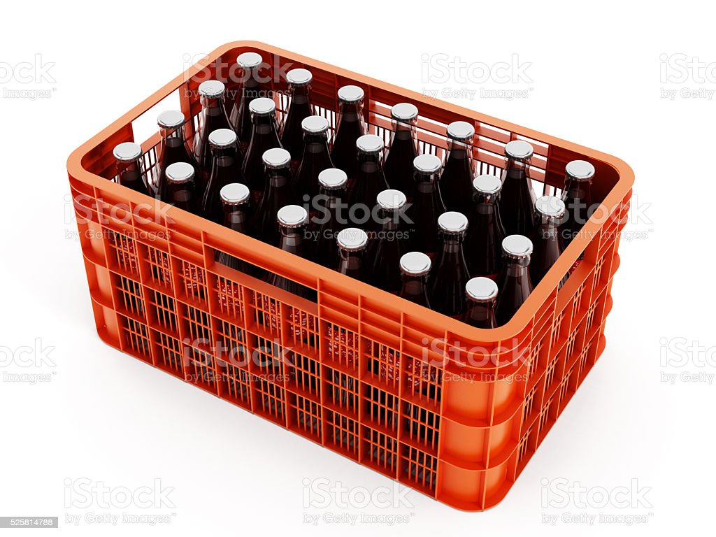 Orange crate with glass soda bottles stock photo