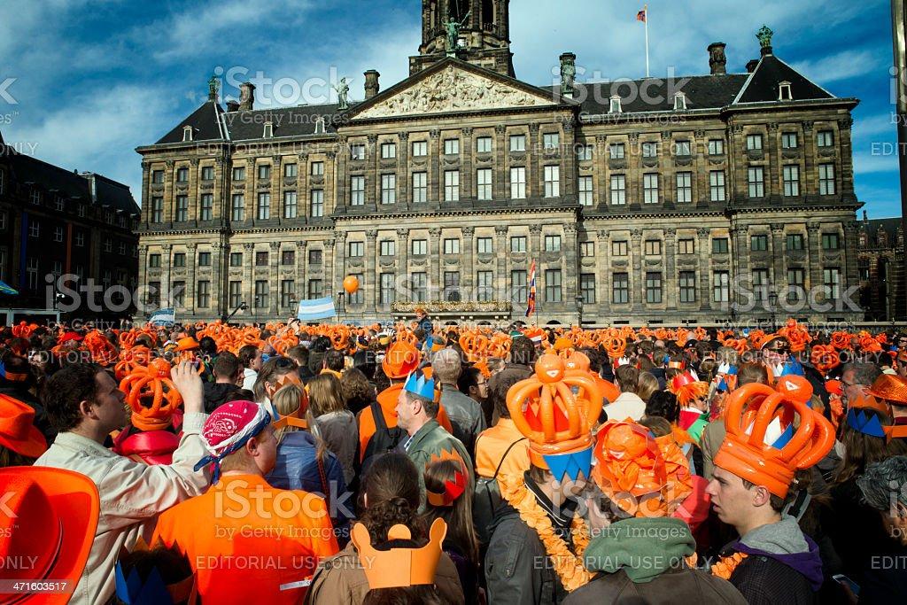 Orange crowd stock photo