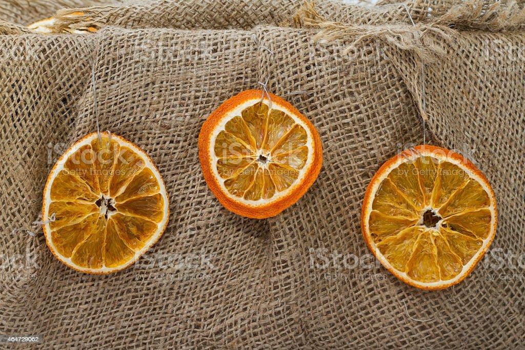 Orange decor. Dried fruit, citrus stock photo