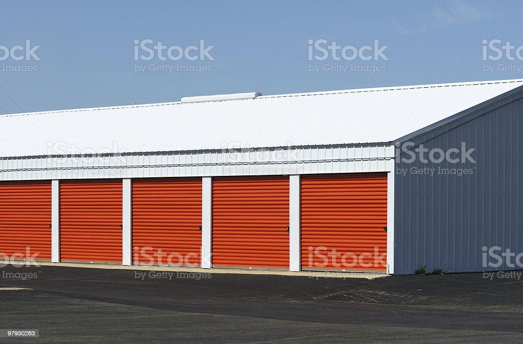 Orange Doors of Storage Garage royalty-free stock photo