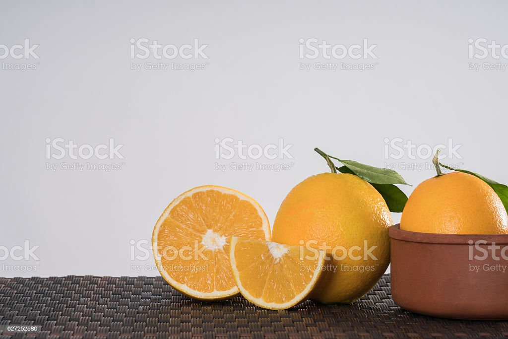 orange duo with Leafs stock photo