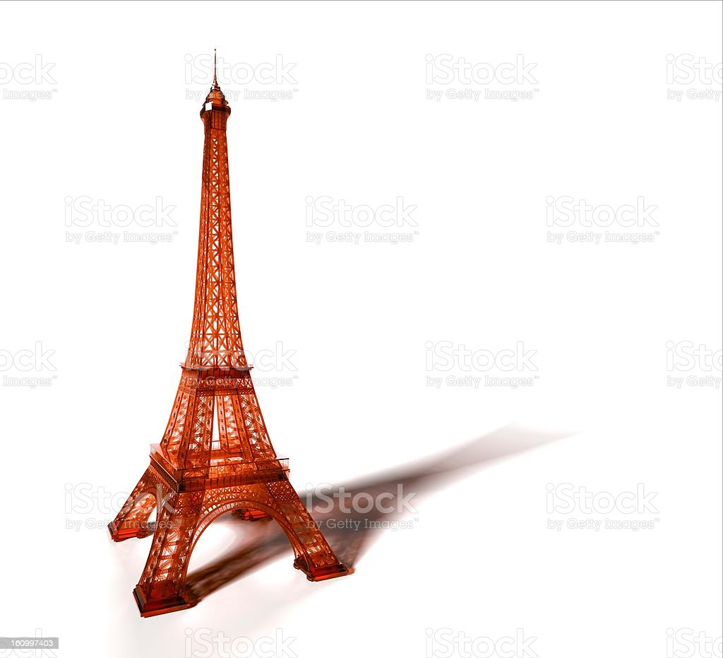 Orange Eiffel tower isolated on white. 3D. royalty-free stock photo