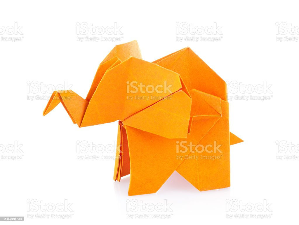 Orange elephant of origami stock photo