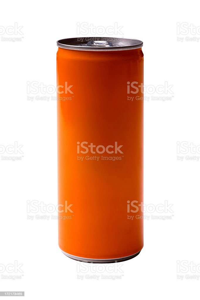 Orange energy drink can on white background stock photo