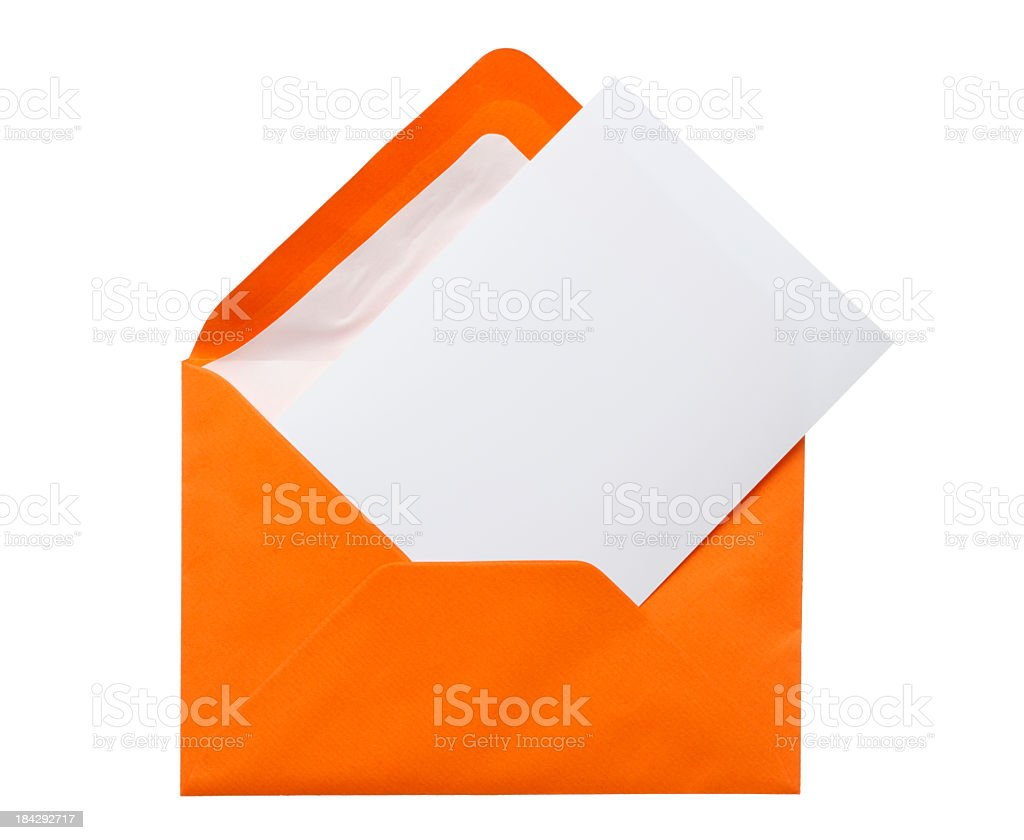 Orange envelope with a white piece of paper inside stock photo