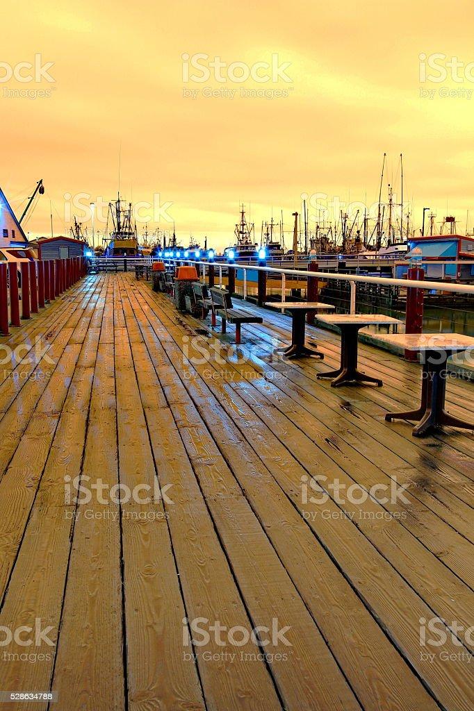 Orange Evening on the Waterfront  of Steveston stock photo
