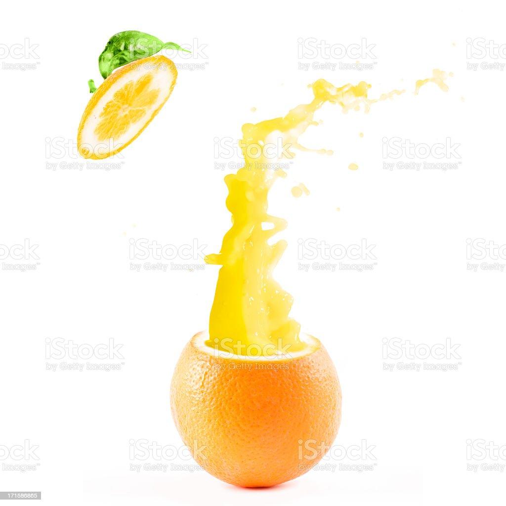 Orange explosion juice splash royalty-free stock photo