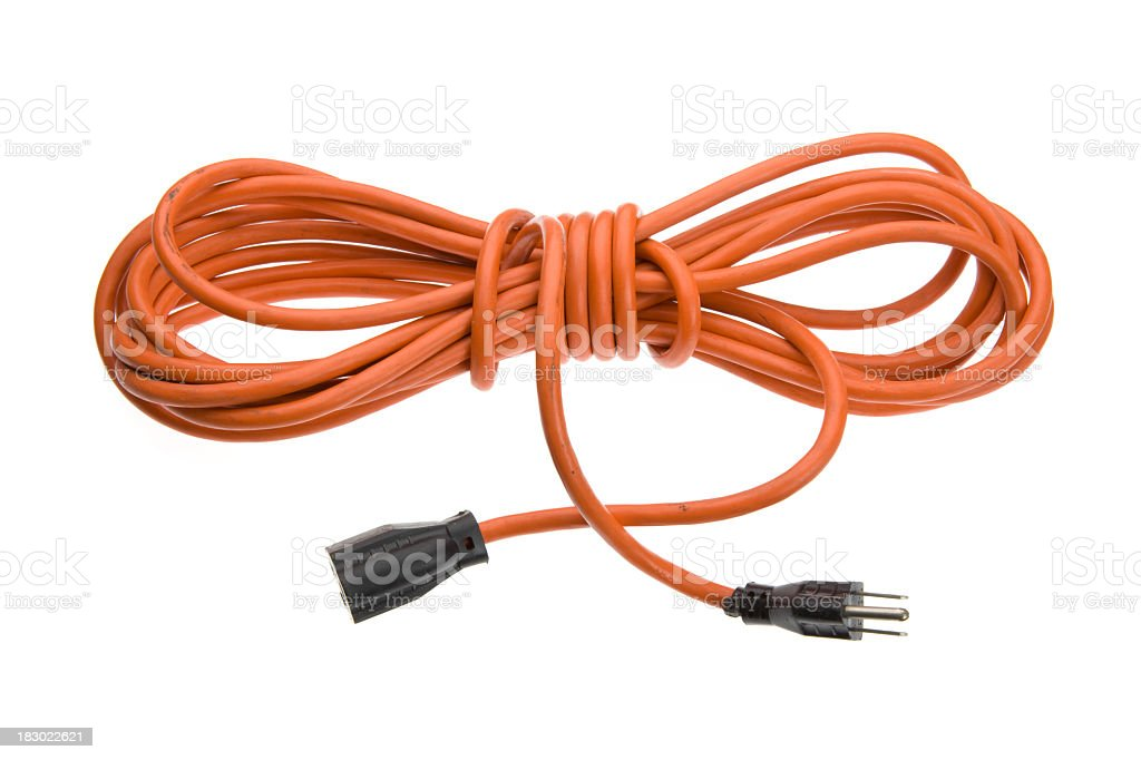 Orange Extension Power Cord royalty-free stock photo