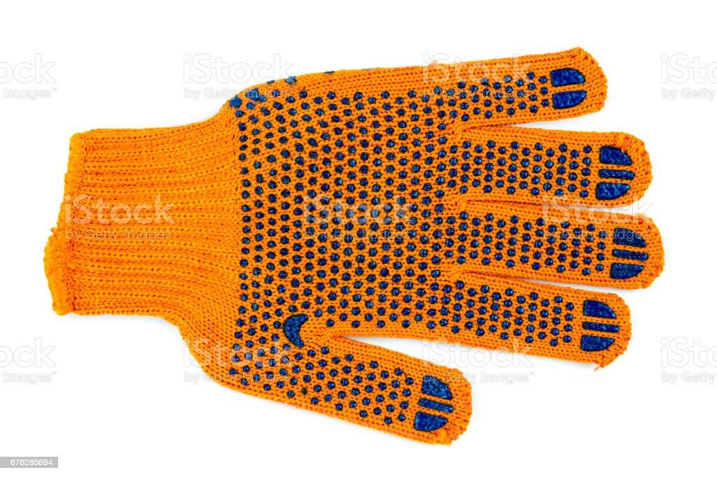 Orange fabric work gloves isolated stock photo