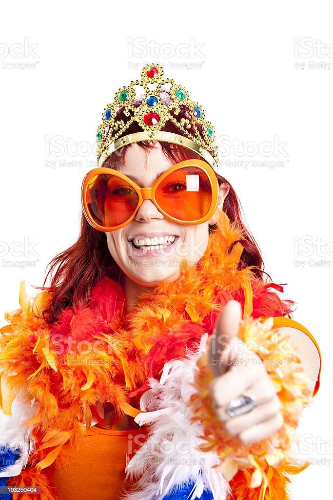 Orange fan thumbs up. stock photo