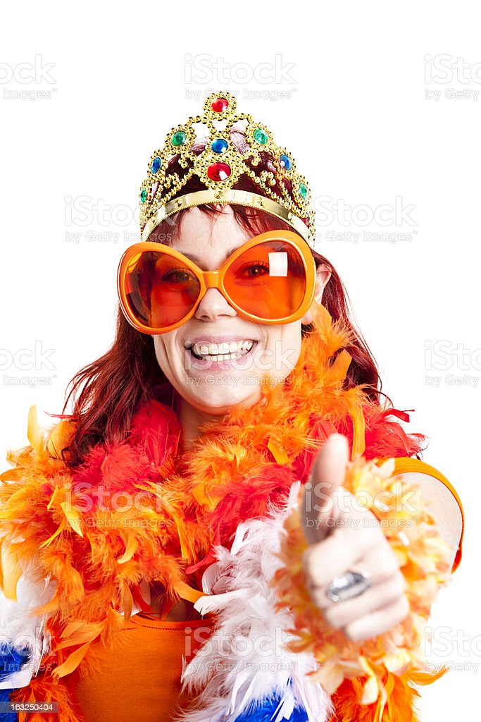 Orange fan thumbs up. stock photo