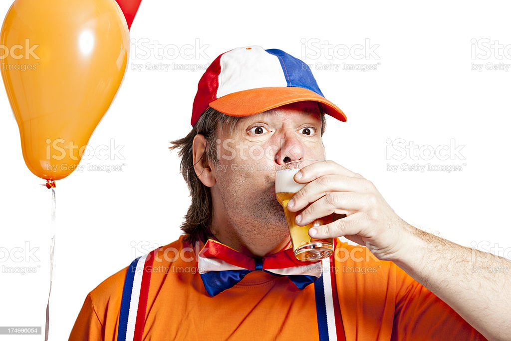 Orange fan with beer stock photo