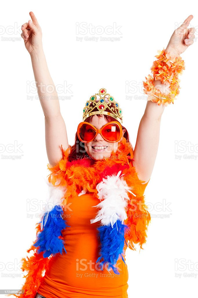 Orange fan with hands in the air. stock photo