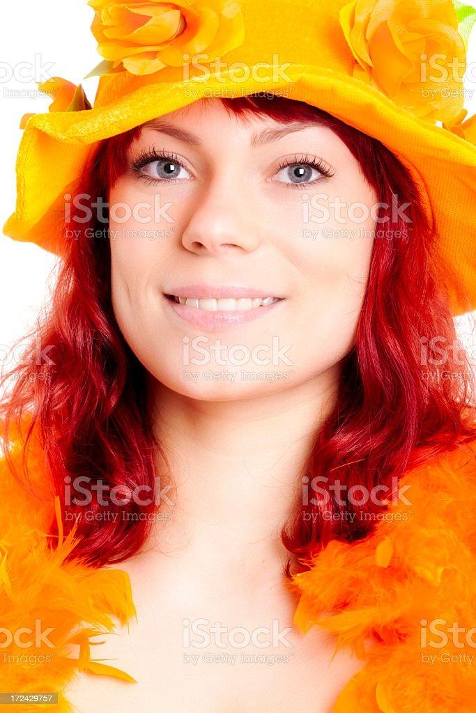 Orange fan with hat stock photo