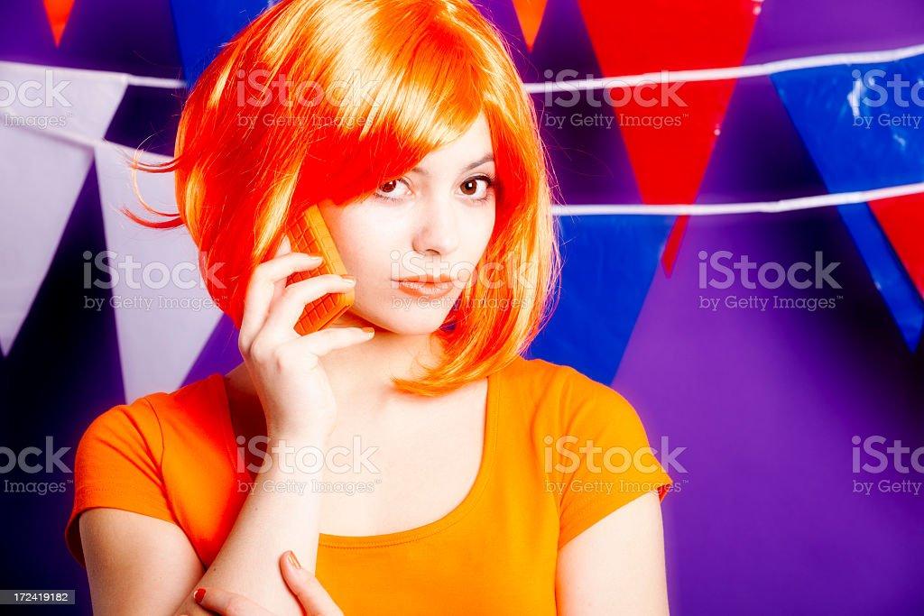 Orange fan with telephone stock photo