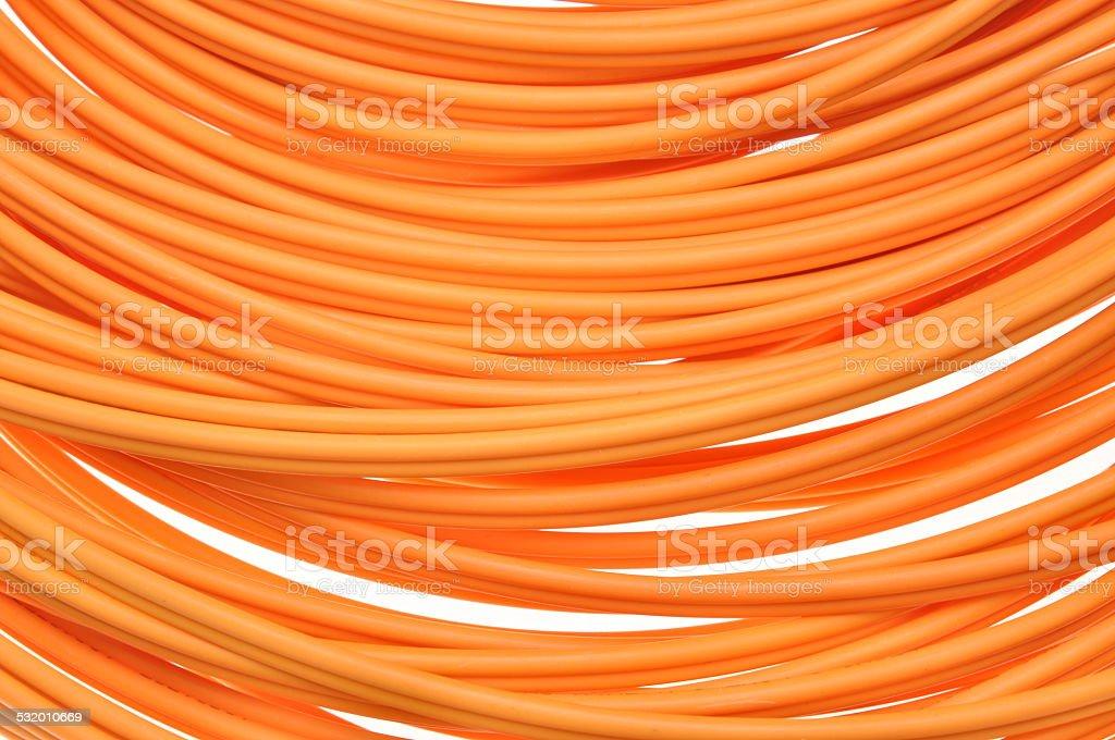 Orange fiber optical cables stock photo