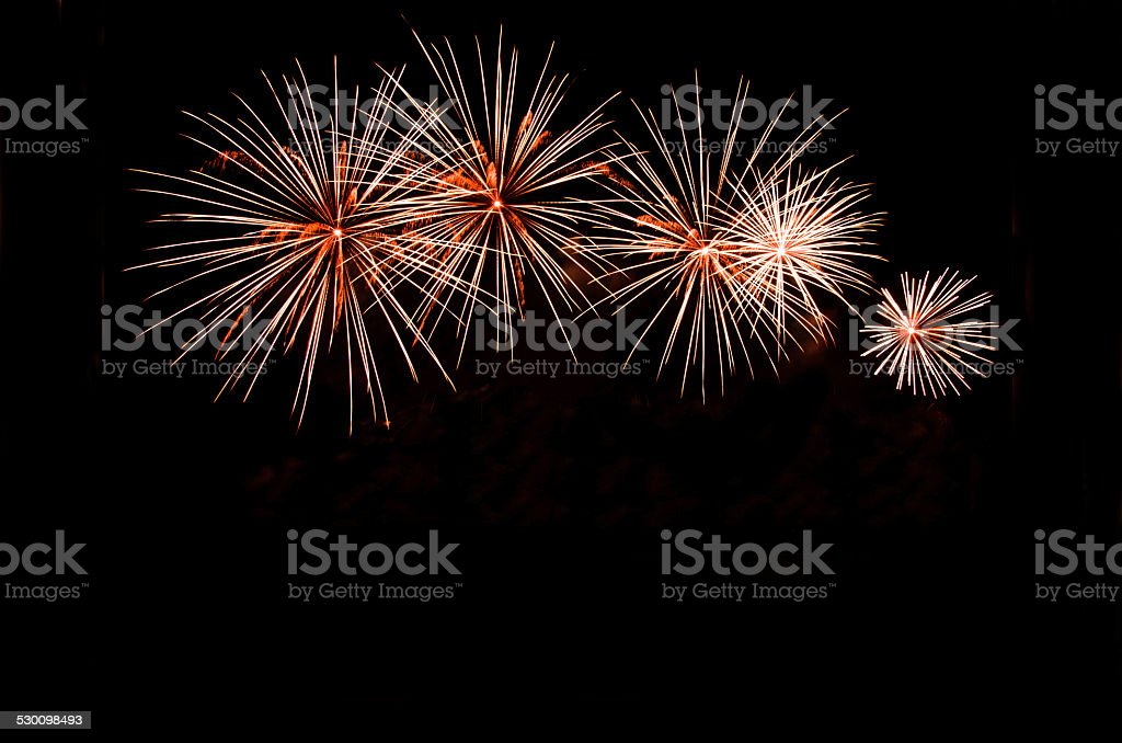 Orange fireworks with copy space stock photo