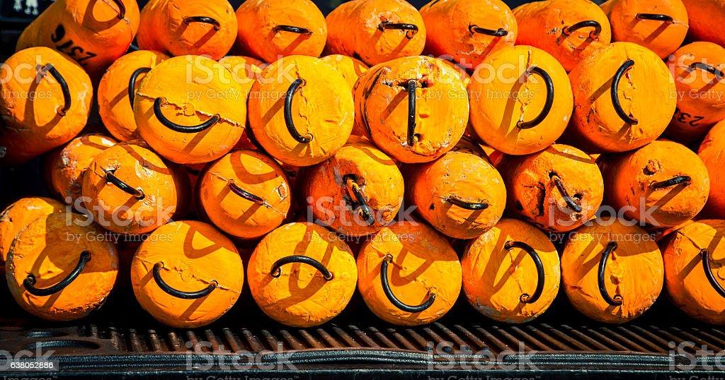 orange fishing buoys stock photo
