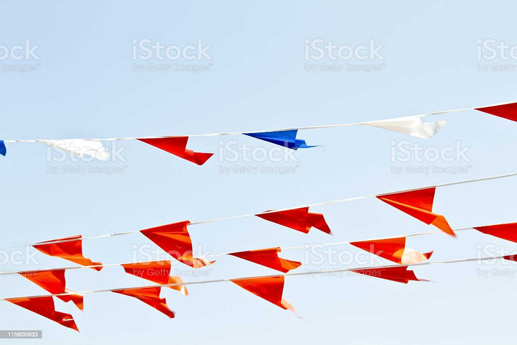 Orange flags at queensday in the Netherlands royalty-free stock photo