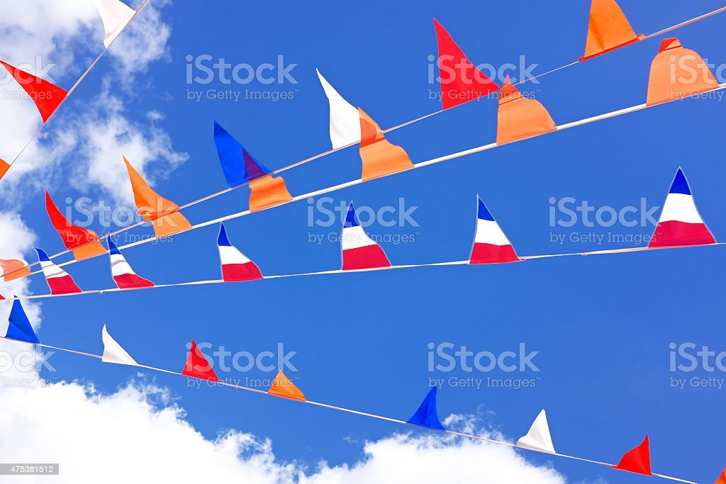 Orange flags, celebrating kings day in the Netherlands stock photo