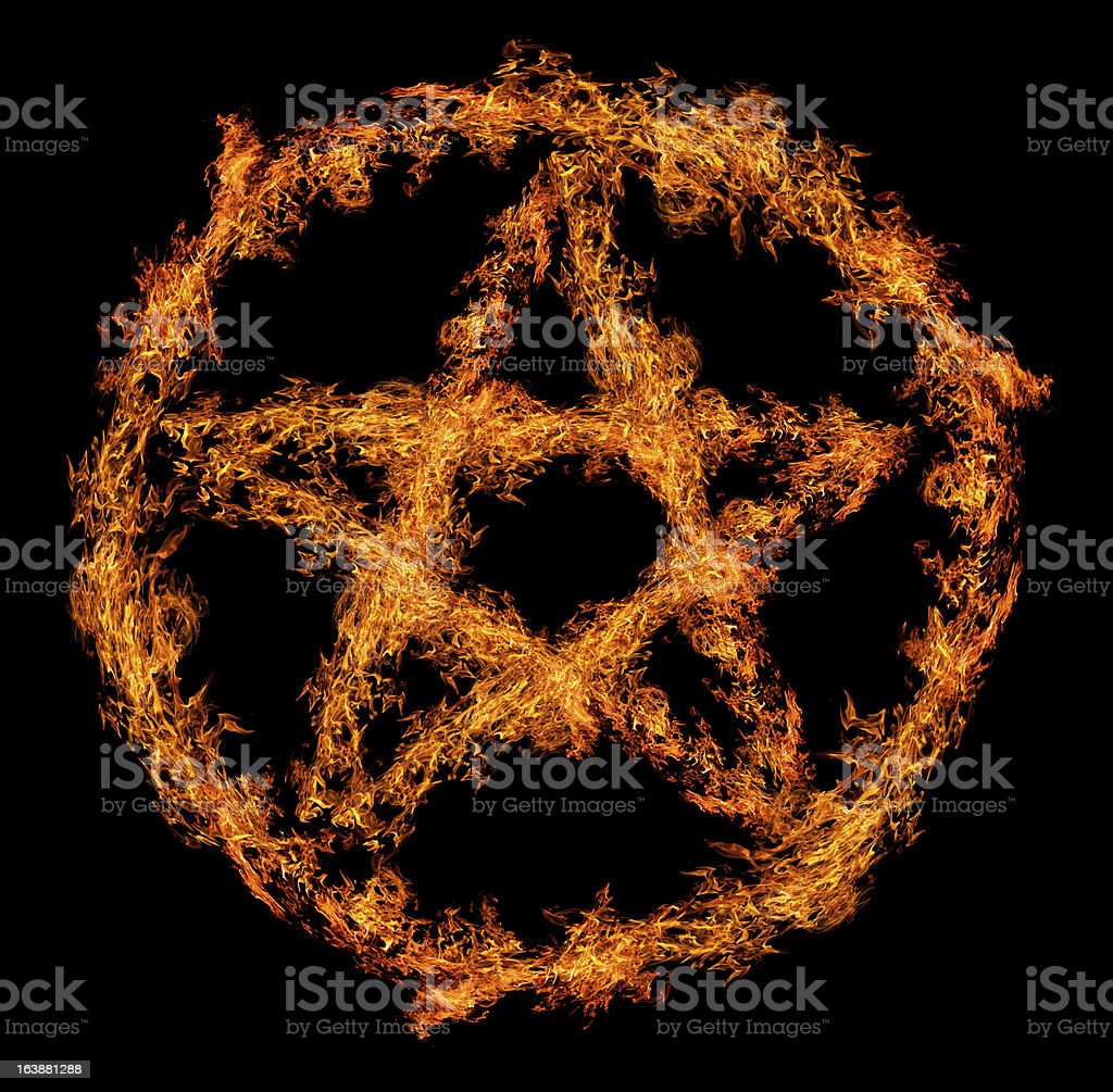 orange flame pentagram isolated on black royalty-free stock photo