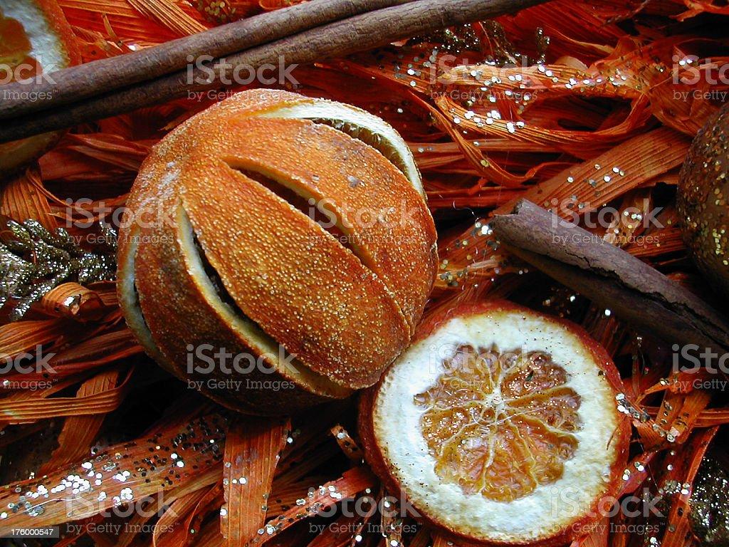 orange fruit decorations stock photo