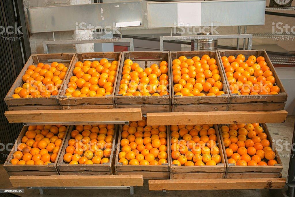frutas naranjas en cajas de madera para la venta en amsterdam holanda foto de stock