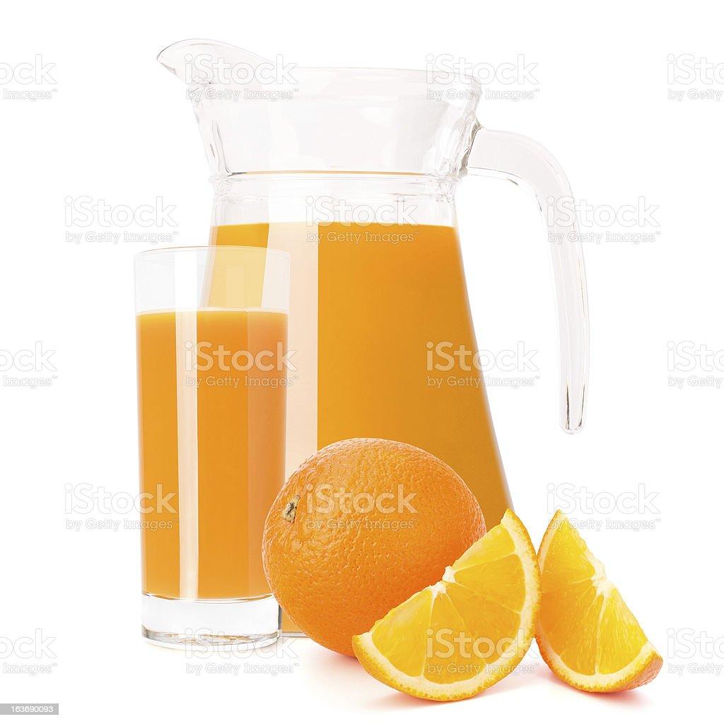 Orange fruit juice in glass jug royalty-free stock photo