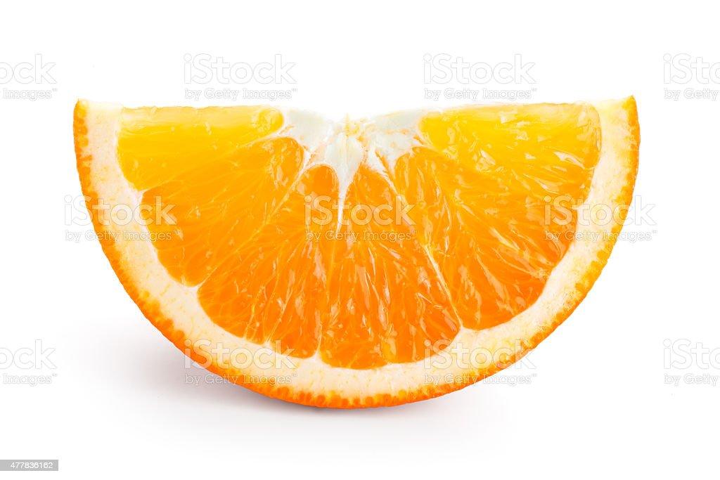 Orange fruit. Piece isolated on white stock photo