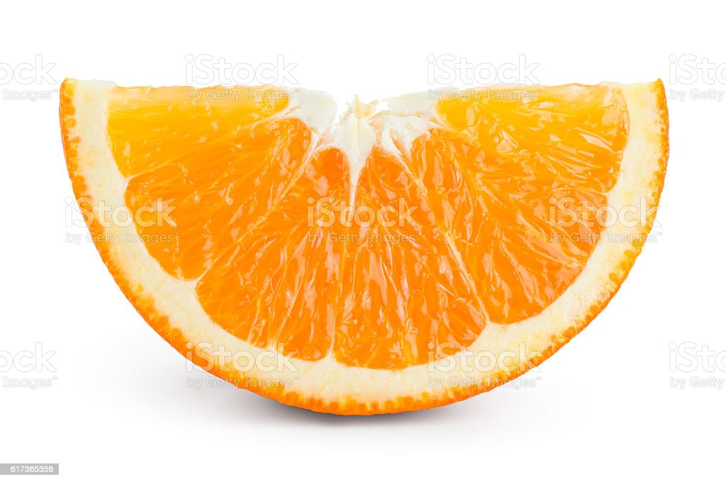 Orange fruit slice isolated on white. stock photo