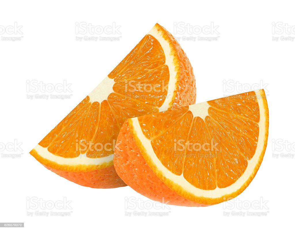 orange fruit slices isolated on white background with clipping path stock photo