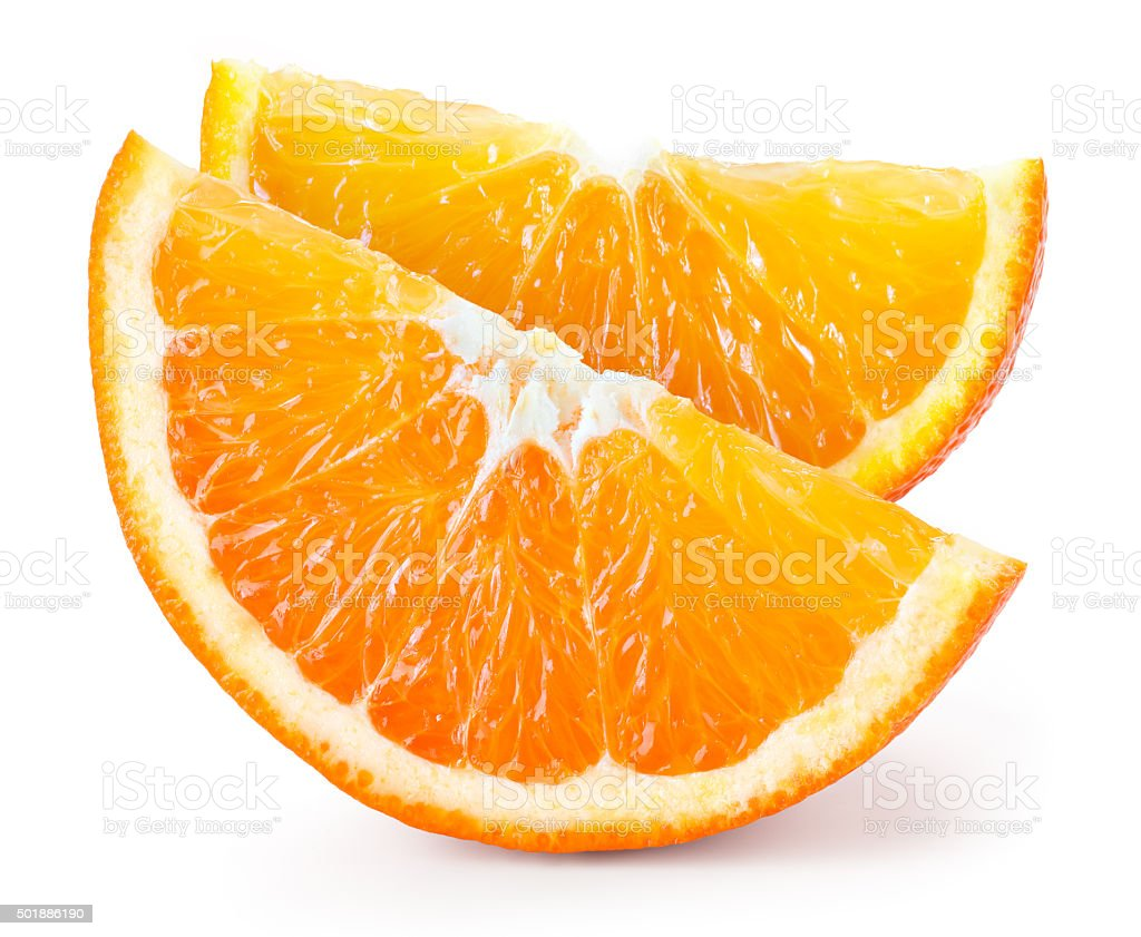 Orange fruit. Two pieces isolated on white stock photo