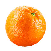 Orange fruit with a white plain backdrop