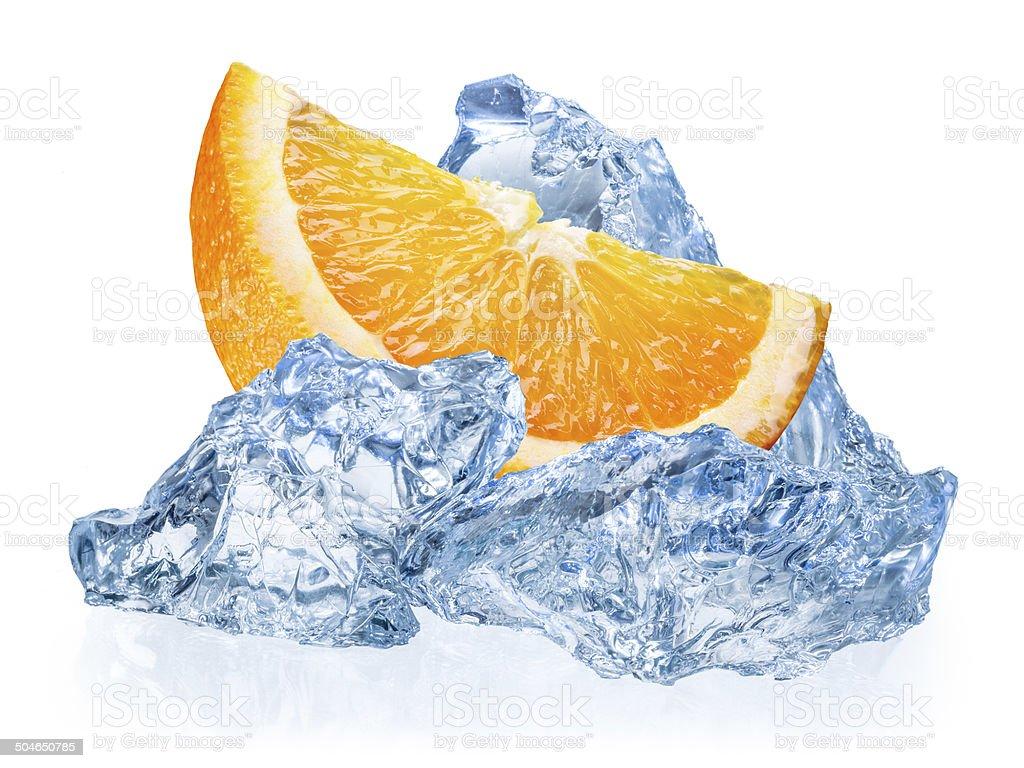 Orange fruit with ice isolated on white background stock photo