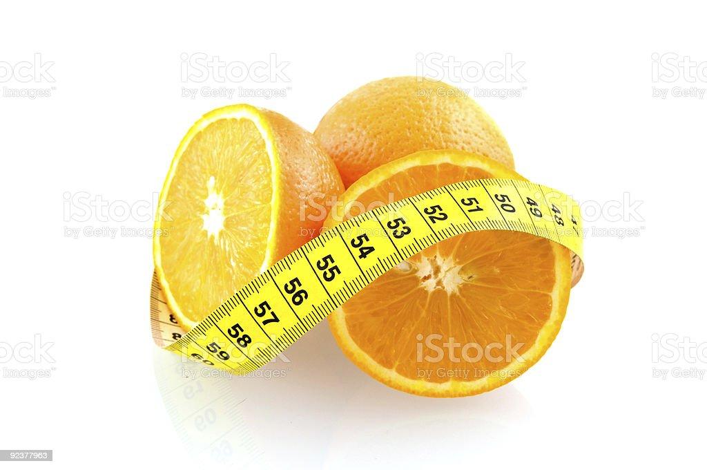 Orange fruits avec ruban à mesurer photo libre de droits