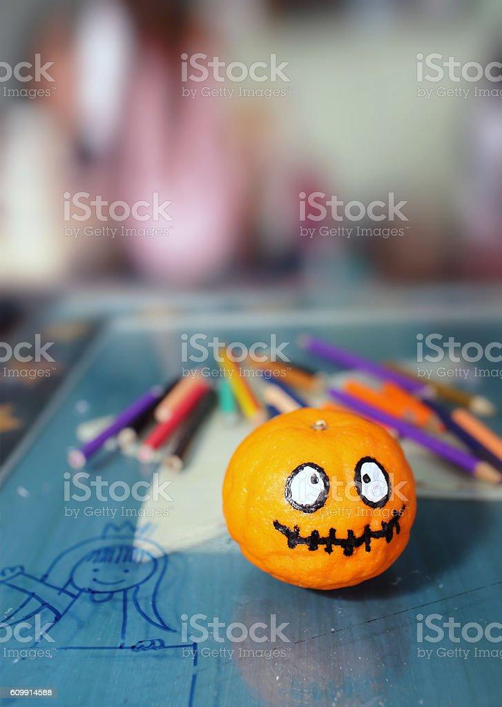 Orange ghost of Halloween. stock photo