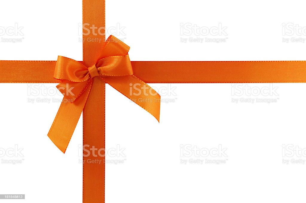 Orange gift bow stock photo