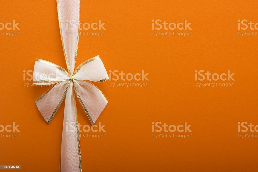 Orange Gift with a Bow stock photo