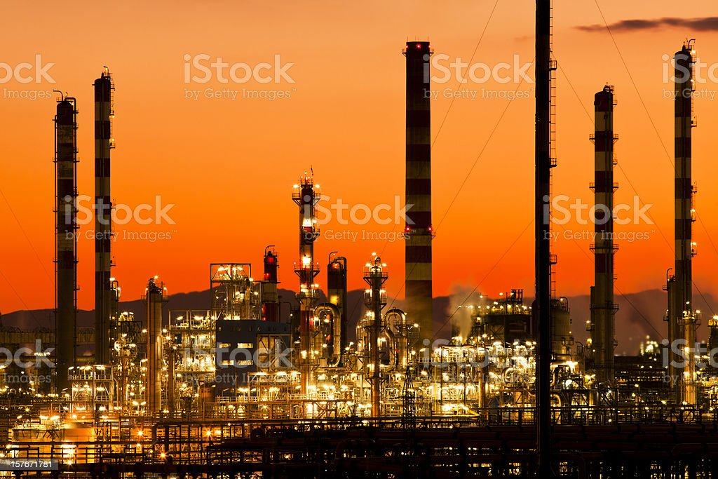 Orange gradient petrochemical plant buildings royalty-free stock photo