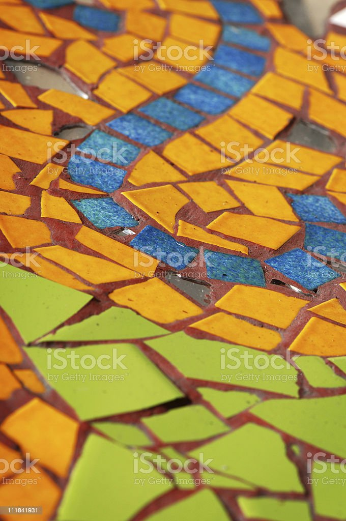Orange Green Blue Mosaic Tiles royalty-free stock photo