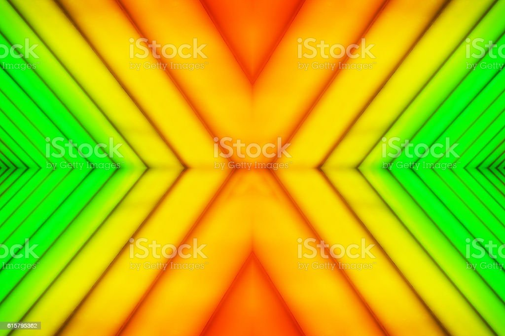 Orange Green Diagonal Striped Mirrored Abstract stock photo