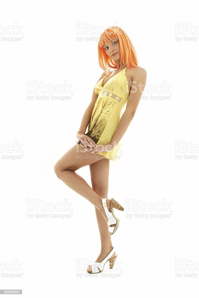 orange hair girl in yellow dress royalty-free stock photo