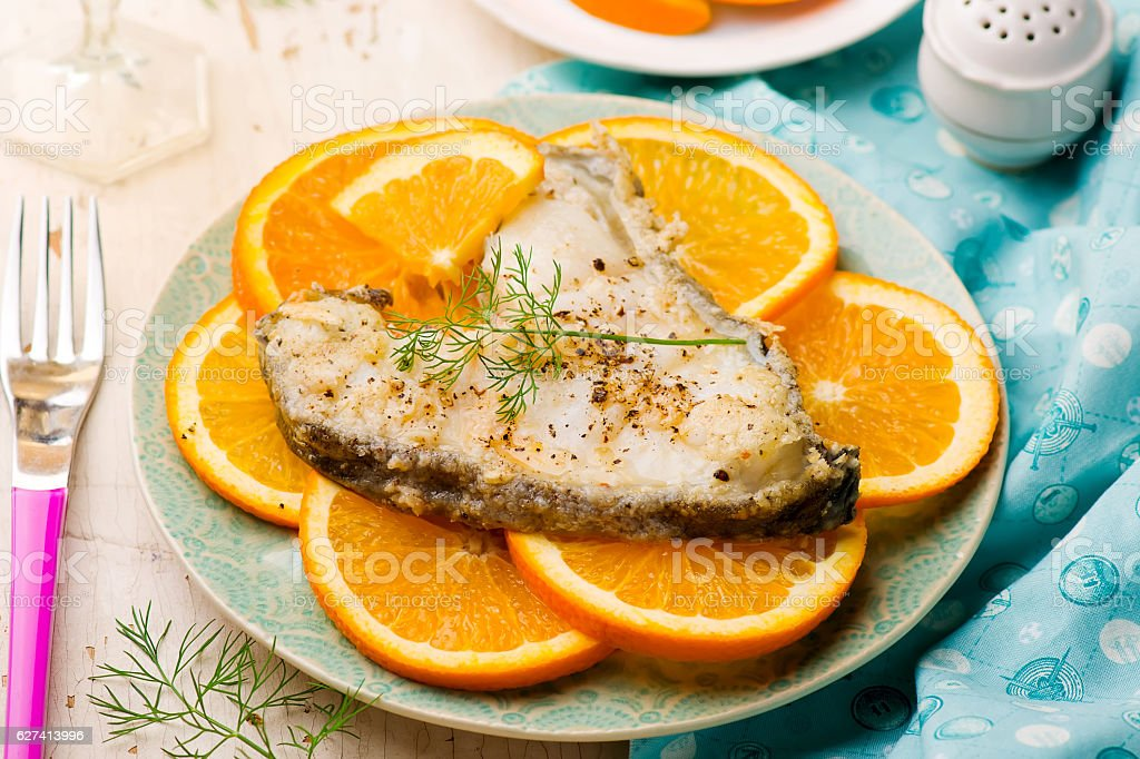 Orange Halibut Steaks stock photo