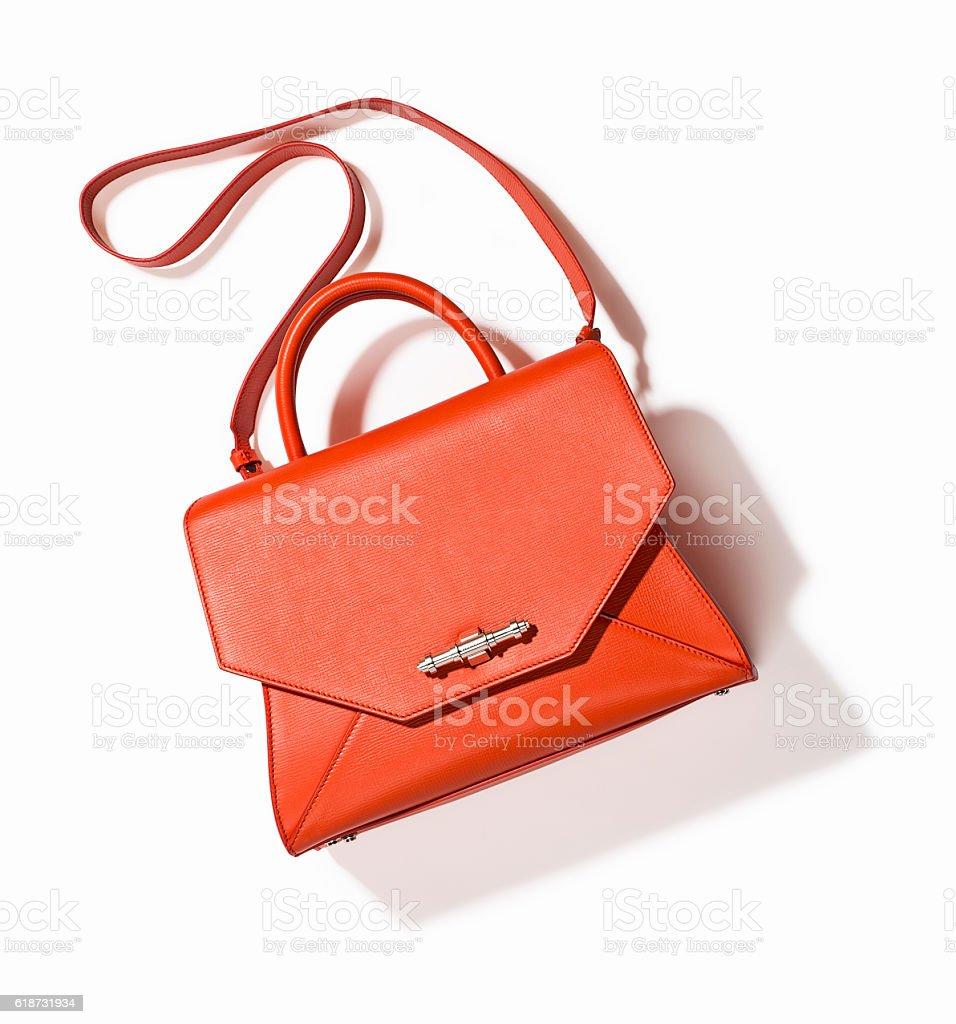 orange handbag stock photo