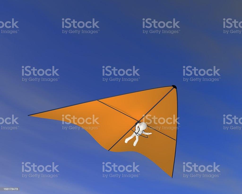 Orange hang glider stock photo