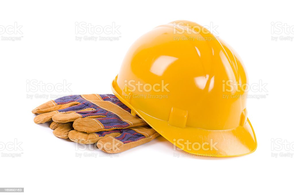 orange hard hat with protective gloves royalty-free stock photo